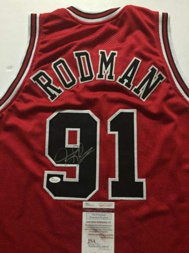 Autographed/Signed Dennis Rodman Chicago Red Basketball Jersey JSA COA