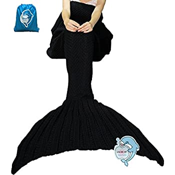 "LAGHCAT Mermaid Tail Blanket Crochet Mermaid Blanket for Adult, Soft All Seasons Sleeping Blankets, Whale Tail Pattern (71""x35.5"", Black)"