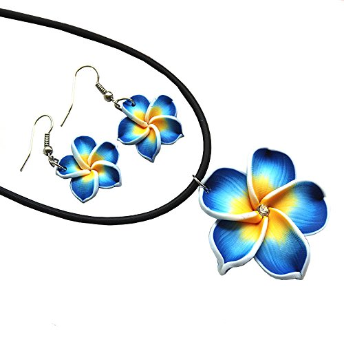 (Donau Plumeria Fimo Flower Earring Pendant Necklace Jewelry Set 6Colors)