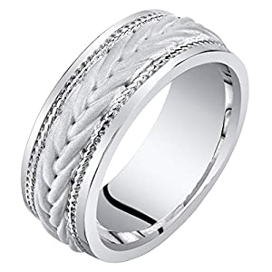 Mens Sterling Silver Roped Pattern Wedding Ring Band 8mm Comfort Fit Sizes 8 to 14