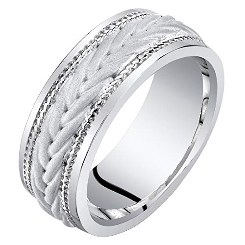 Mens Sterling Silver Roped Pattern Wedding Ring Band 8mm Comfort Fit Size 12 ()