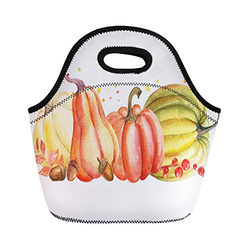 Semtomn Neoprene Lunch Tote Bag Green Autumn Composition of Pumpkin and Leaves Watercolor Orange Reusable Cooler Bags Insulated Thermal Picnic Handbag for Travel,School,Outdoors, Work