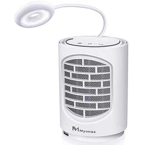 Myonaz Pro 4 In 1 Mini Space Heater with Heat USB 3A and Natural Wind Reading Light 500W (White)