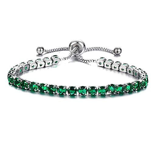 (2019 New Simple Roman Crystal Single Row Full Diamond Adjustable Bracelet Fashion Party Wristband Jewelry Accessories by FAVOT (Sliver and Green))