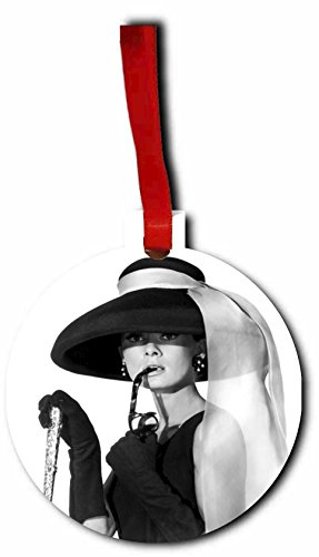Audrey Hepburn with Sunglasses and a Hat - Holiday Ornament - Hanging - Round Shaped - Flat - Hardboard - by Lea Elliot Inc. - Sunglasses Celebs In