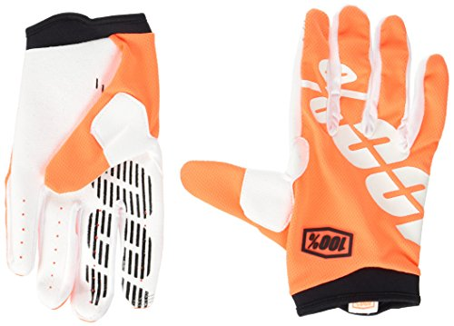 - 100% ITRACK Adult Leather/Textile Off-Road Motorcycle Gloves - Cal-Trans/Orange/Medium