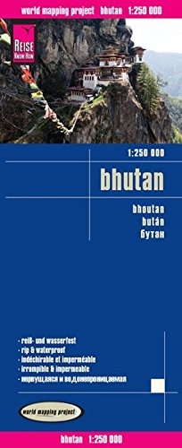 Bhutan Road Map (English, Spanish, French, German and Russian Edition)