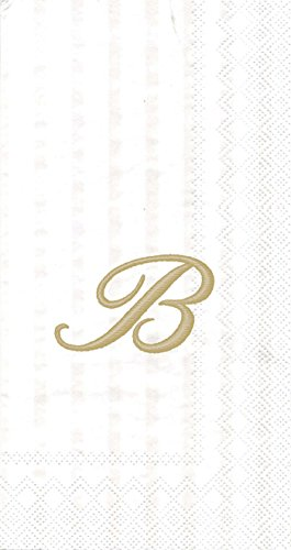 (Ideal Home Range Monogram Guest Towel, White/Gold (Pack of 2) (2, Letter B))