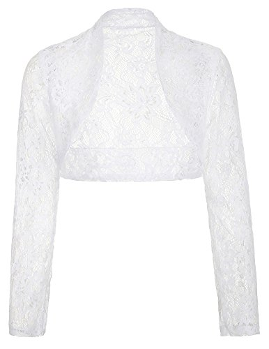 Elegant Sheer Lace Long Sleeve Open Front Bolero for Gowns(White,M)