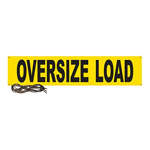 Ancra 49894-12 Banner Wide Load/Oversize Load, 2-Sided, 14-Inch by 72-Inch Vinyl with 44-Inch Ropes & Grommets, Yellow