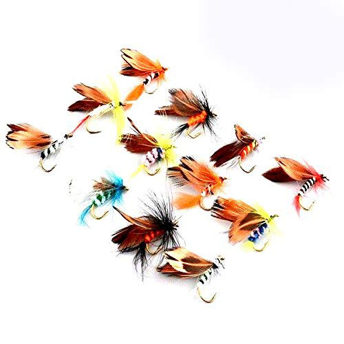 Unetox Fly Fshing Flies Kit Dry Wet Trout Flies Fly Fishing Bass Lure Fishing Hooks 12Pcs Fishing Tackles -