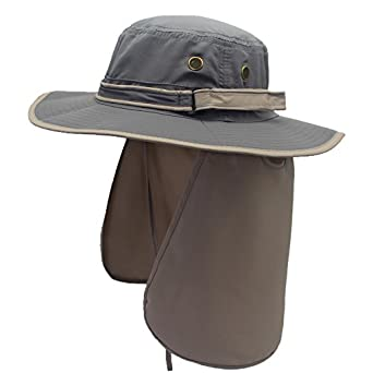 191e07b2 Decentron Unisex Quick Drying UV Protection Outdoor Sun Hat with Flap Neck  Cover, One Size fits most, Dark Grey: Amazon.co.uk: Clothing