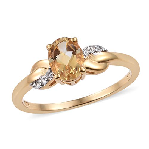 (925 Sterling Silver 14K Yellow Gold Plated Oval Citrine Zircon Statement Ring for Women Size 7 Cttw 1)