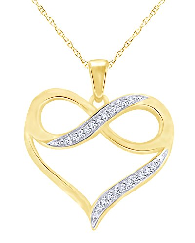 (Mothers Gift Round Cut Diamond Accent Heart with Infinity Pendant in 10K Solid Yellow Gold)