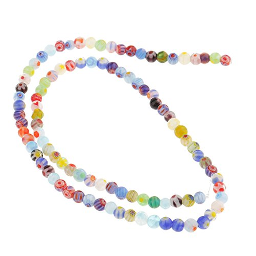 acer Loose Glass Beads Lampwork Millefiori Round Flower for Jewelry Bracelet Necklace Earring Making - Multicolor, 4 mm (Multi Color Lampwork Glass)