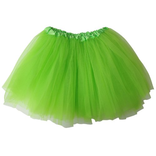 Ballerina Basic Girls Dance Dress-Up Princess Fairy Costume Dance Recital Tutu (Neon Green) (Neon Tutu For Women)