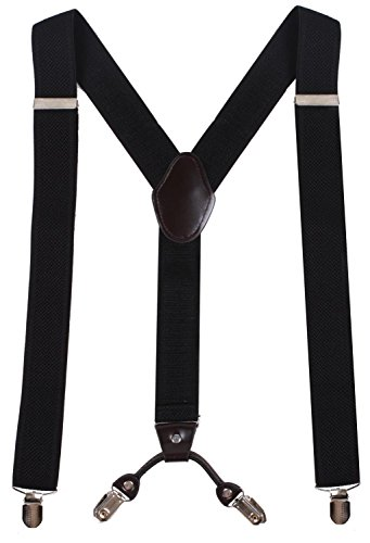 WDSKY Mens Black Suspenders Black Suspenders for Men Youth Suspenders Black