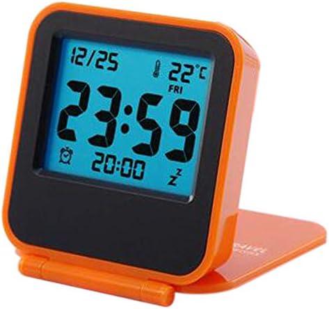 Orange Toolmore Reveil Reveil de Table Numerique Pliable Portatif de Voyage avec Temperature Date du Calendrier Semaine Reveil de Cuisine