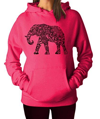 Elephant Apparel - YM Wear Women's Casual Fashion Graphic Elephant Black Hoodie Hooded Sweater Small Raspberry