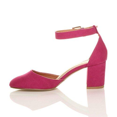 Heel Ajvani Court Fuchsia Shoes Pumps Mid Women Size Suede Sandals q7F7EwPnr