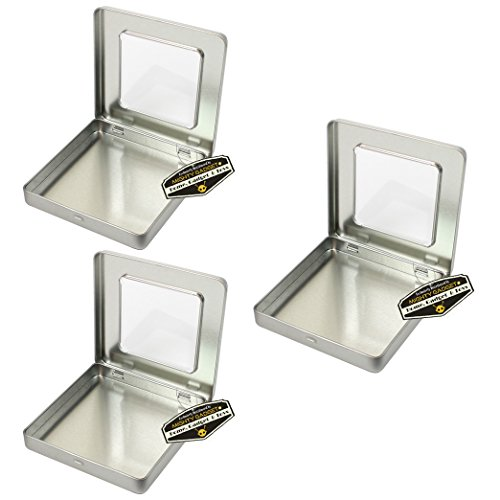 """Mighty Gadget (R) Square Empty Hinged Lid Survival Tin Container with See Through Window Top for Geocaching or Survival Gear (3 Pack) - 4"""" x 4"""" x 0.5625"""""""