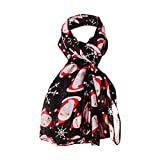 HomeMals Candy Cane Print Women's Scarf Christmas Gift Lightweight Red Decorative Scarf Snowflake Scarf