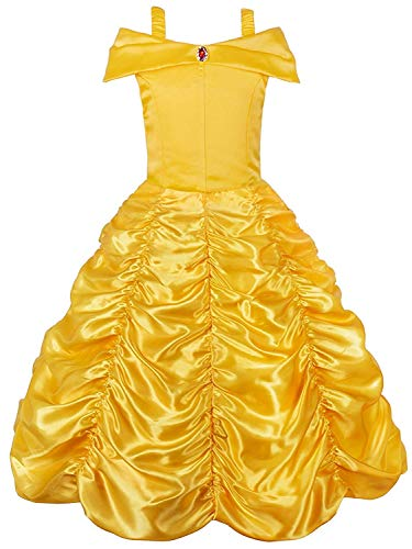 Princess Belle Off Shoulder Layered Costume Dress for Little Girl(Yellow 7 Years)
