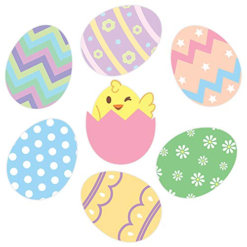 Easter Wall Decorations (Oliver's Labels Easter Eggs Wall Decals Peel and Stick Removable Reusable)