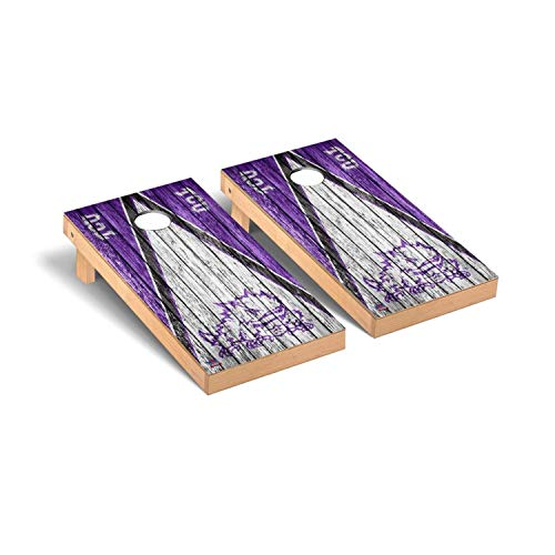 Victory Tailgate Regulation Collegiate NCAA Weathered Triangle Series Cornhole Board Set - 2 Boards, 8 Bags - Texas Christian TCU Horned Frogs