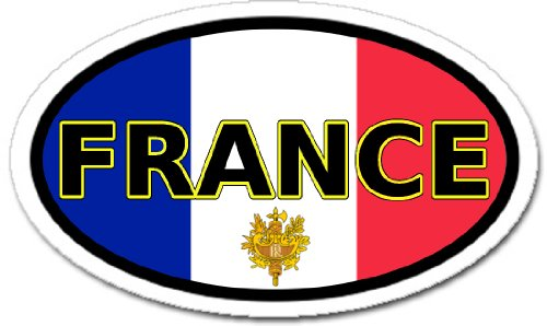 France and French Flag Car Bumper Sticker Decal Oval ()