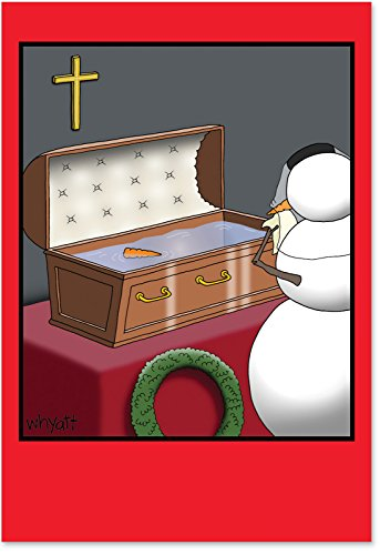 12 'Snowman Coffin Boxed Christmas' Hilarious Note Cards With Envelopes 4.63 x 6.75 inch, Merry Xmas Greeting Cards with Melted Snowman Cartoon, Funny Stationery for Holidays, Parties, Gifts - Coffin Card