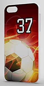 Flaming Soccer Sports Fan Player Number 37 White Rubber Decorative iphone 5c Case