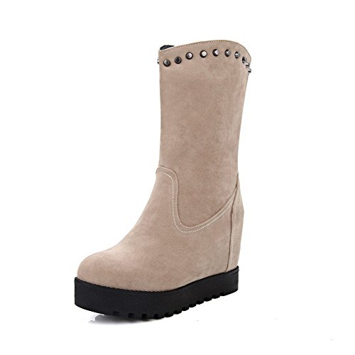 AmoonyFashion Womens Kitten-Heels Solid Round Closed Toe Frosted Pull-On Boots Beige Q5XlzVUvA