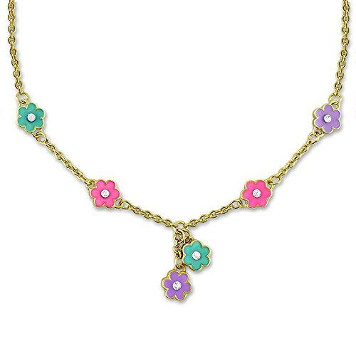 Flower Necklace For Women And Teens - Dainty Jewelry With Hand Painted Flower Charms - Choose From Vibrant Or Pastel Colors - Flower Jewelry For Women   16 Inch Necklaces For Women, Adjustable Chain