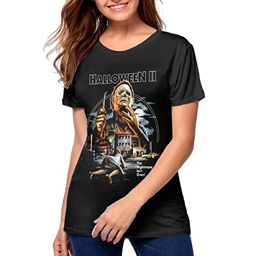 Sadfwqgyrey Halloween 2 Michael Myers Beautiful Tee Shirt Women's Black -