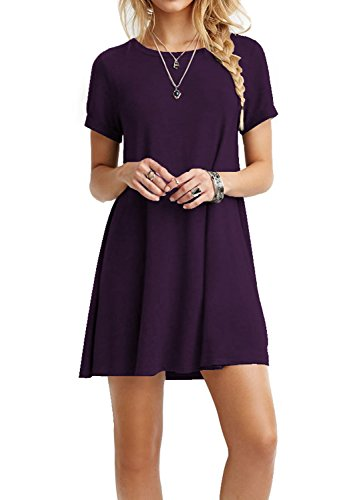 TINYHI Women's Swing Loose Short Sleeve Tshirt Fit Comfy Casual Flowy Tunic Cotton Dress Purple, Medium