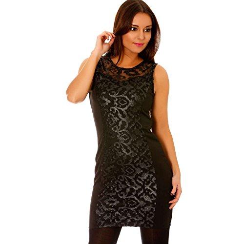 Miss Wear Line - Robe droite courte et moulante noire empiècements tulle et motifs baroques en sky