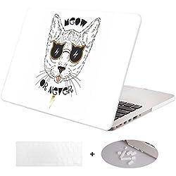 """Dwon Funda para MacBook Pro 13 in, Retina Display con cubierta de teclado y tapón antipolvo, modelo (A1502/A1425, versión 2015/2014/2013/final 2012), MacBook pro 13"""" with Retina (A1502/A1425), Gato Blanco"""