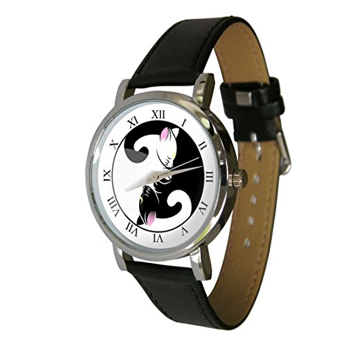 Cute Yin Yang Cats Design Fashion Watch. The Perfect Cat Lovers Gift. Leather