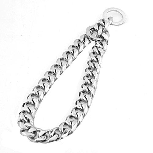 Silver Tone Stainless Steel 12mm Curb Cuban Dog Choke Chain Collar Pet Necklace for Pit Bull, Mastiff, Bulldog, & Big Breeds High Polish (18inch Chain(Suggest Dog Neck 14inch))