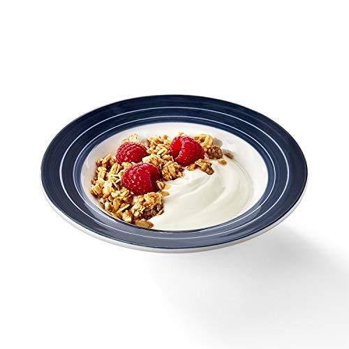 Libbey Intuitive Diningware Rigel Banded Senior Fruit Bowls, White/Blue, 6-ounce, Set of 4