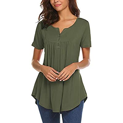 Women's Casual Long Sleeve Henley V-Neck Loose Fit Pleated Tunic Shirt Blouse Tops at Women's Clothing store