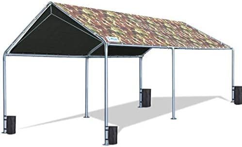 Quictent 10 X20 Upgraded Heavy Duty Carport Car Canopy Boat Shelter Tent with Reinforced Steel Cables-Camo