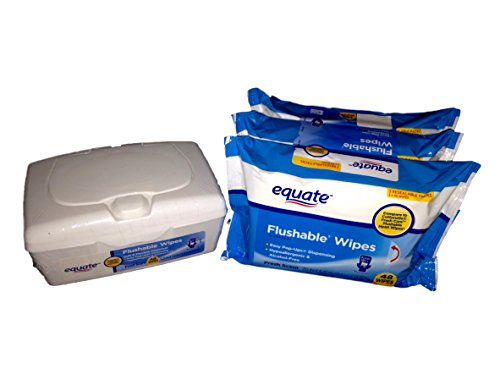 Equate Flushable Wipes (3) 48ct Packs with 48ct Pop-Up Refillable Dispenser (Combination 192 Wipes Total)