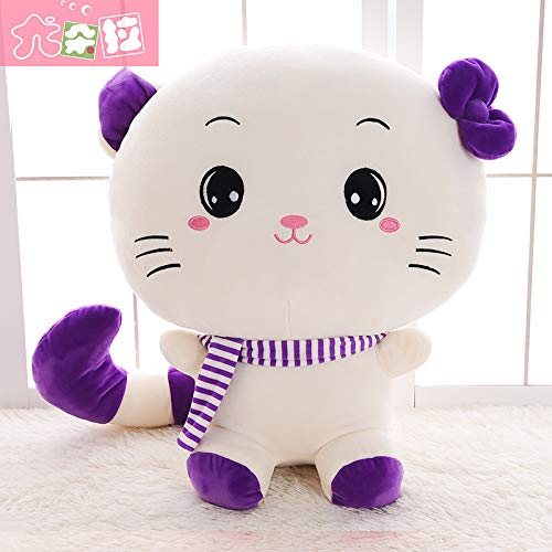 Full Length 1.6 Meters (Sitting Height 1 Meter) Purple scarf round eye DONGER Cute Cat Doll Toy Large Doll Sleeping Pillow Doll Birthday Gift Female, Yellow Tongue, Full Length 80 Cm (Sitting Height 45 Cm)