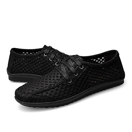 Shenn Heren Ademend Comfort Casual Nylon Sneakers Zwart
