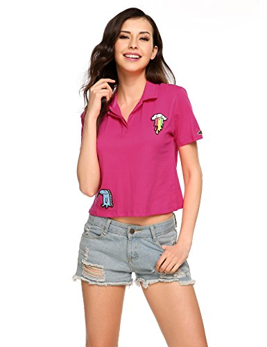 Women Casual Print T-shirt, V-Neck Short Sleeve Polo Collar Sports Tee Tops (Plus size)