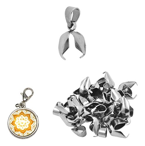 Mandala Crafts Stainless Steel Pinch Bail, Clasp Clip Connector Finding Kit for Dangle Charm Pendant Jewelry Making (6 X 17 mm, Silver Tone)