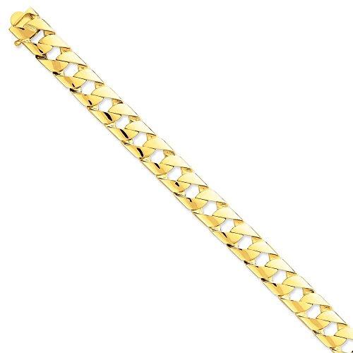 """14 carats - 11 mm-poli à la main à fantaisie lien Chain Bracelet - 8 """"JewelryWeb-Fermoirs-Mousquetons"""