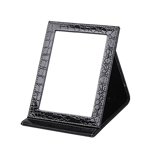 Rnow Tabletop Makeup Mirror Portable Folding Vanity Mirrors with Standing Large, Black by Rnow